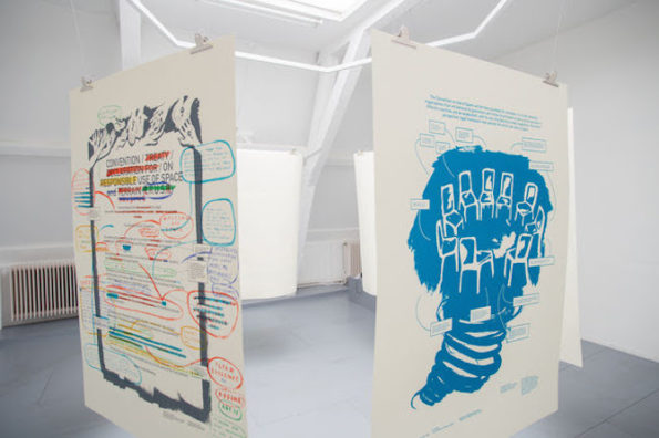 """Adelita Husni-Bey, """"White Paper: The Land,"""" 2014, installed at Casco — Office for Art, Design and Theory, 2015. Photo: Niels Moolenaar."""