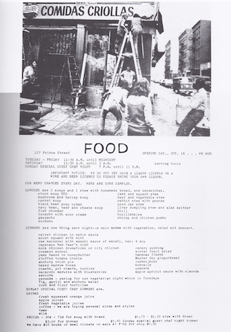 "03_Food_Menu.jpg  Menú del restuarante ""Food"", 1971"