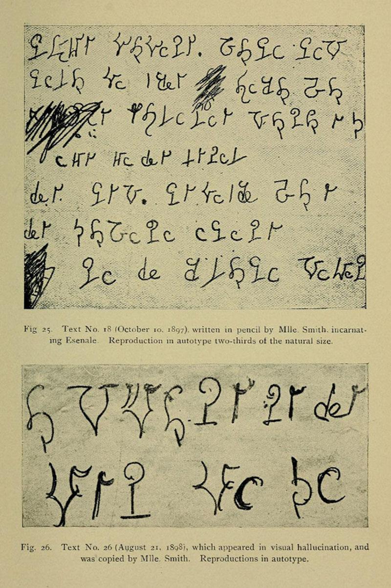 """Alfabeto marciano de Hélèn Smith en el libro de Théodore Flournoy, """"From India to the Planet Mars"""" (1900)"""